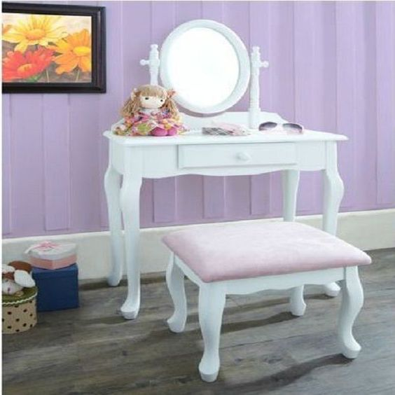Vanity Set Girls Makeup Dressing Table Stool Mirror Teen