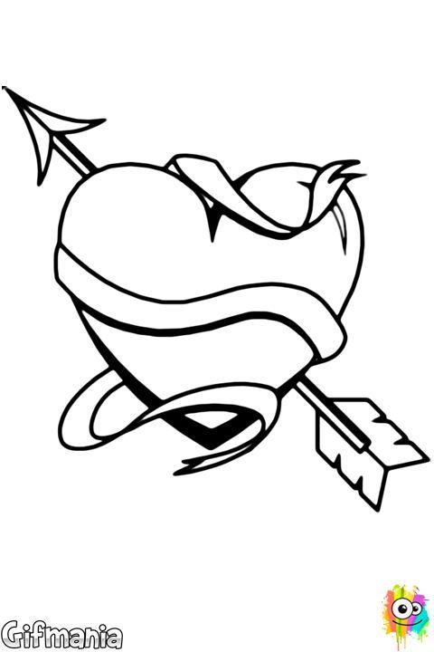 Heart Arrow And Scroll Heart Love Drawing Dibujos De