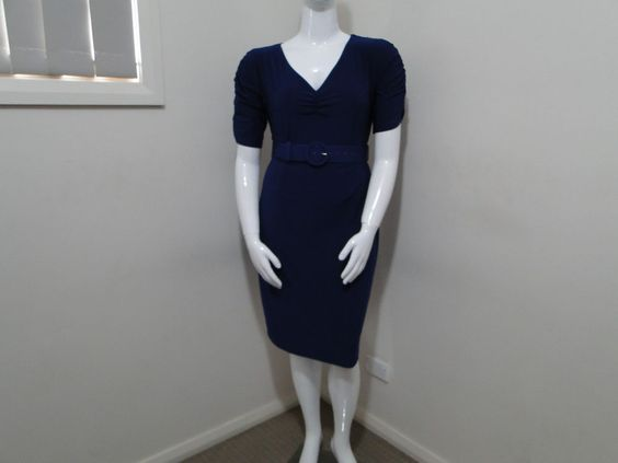 NAVY BLUE LEONA EDMISTON BELTED PENCIL DRESS PLUS SIZE 4 (16) NEAR NEW $209.00 #LEONAEDMISTON #PENCIL
