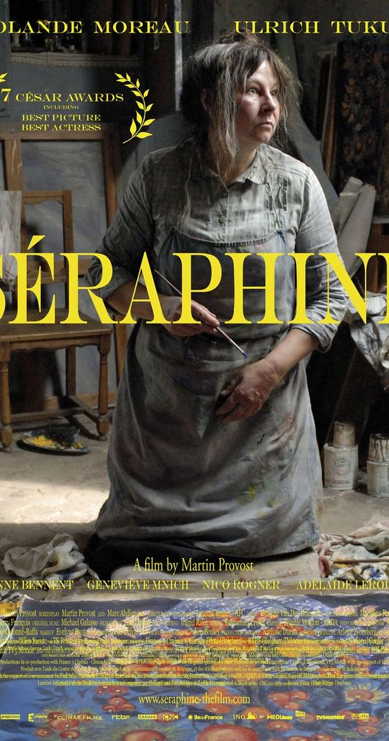 Directed by Martin Provost.  With Yolande Moreau, Ulrich Tukur, Anne Bennent, Geneviève Mnich. Based on the life of French painter Séraphine de Senlis.