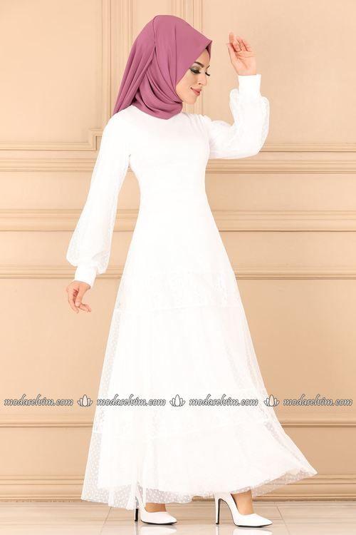 Modaselvim Elbise Puantiyeli Tul Elbise 5186ay342 Ekru The Dress Moda Stilleri Elbiseler