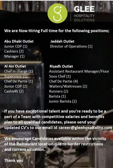 Multiple Job Openings Ksa In 2020 Job Opening Job Restaurant Management