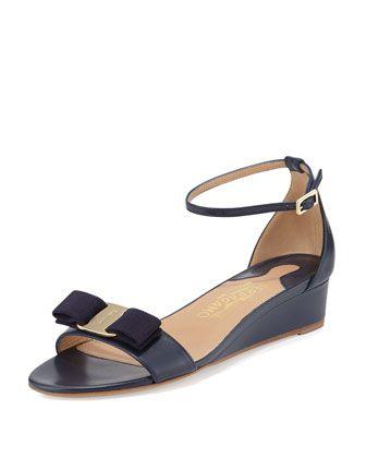 Margot Bow Demi-Wedge Sandal, Oxford Blue by Salvatore Ferragamo at Neiman Marcus.