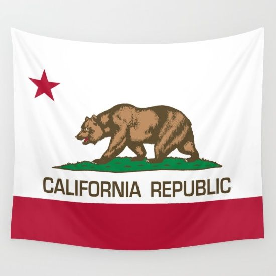 California Republic state flag - Authentic Version Wall Tapestry by BruceStanfieldArtist North America - $39.00