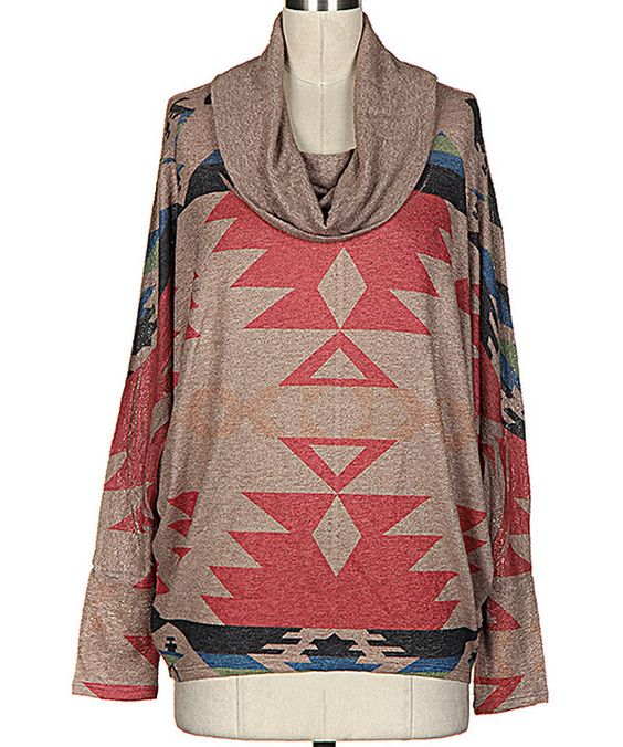 Look at this Fashionomics Brown & Red Tribal Cowl Neck Top on #zulily today!