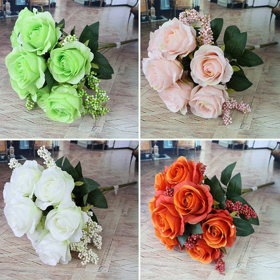 Find More Decorative Flowers & Wreaths Information about Real Touch Rose…