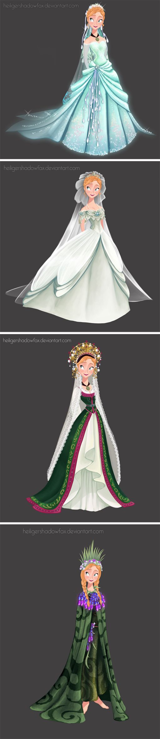 "wedding dress for Anna by *HeiligerShadowfax* ▲1-""Sky Awake"". I imagine this dress was made by Elsa with her magic for the sister's wedding… 2-""imperial"" 3-""folk"" norwegian bride's dress 4-Troll Wedding:"
