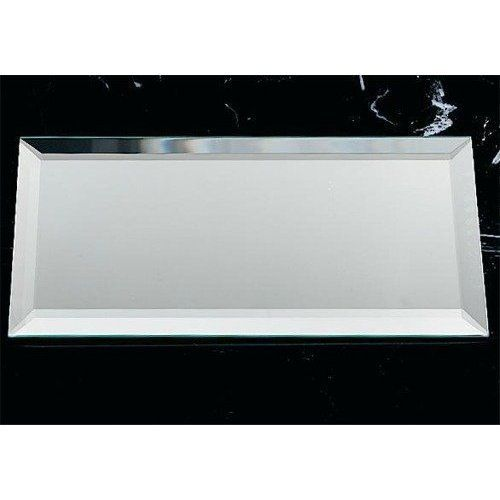 Rectangle mirrored glass placemat centerpiece by for Glass table placemats