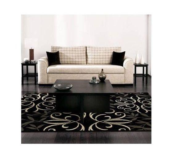 Fleur Modern European Jet Black Area Rug De-Lis Floral Design Living Room Large #FleurRug #Any
