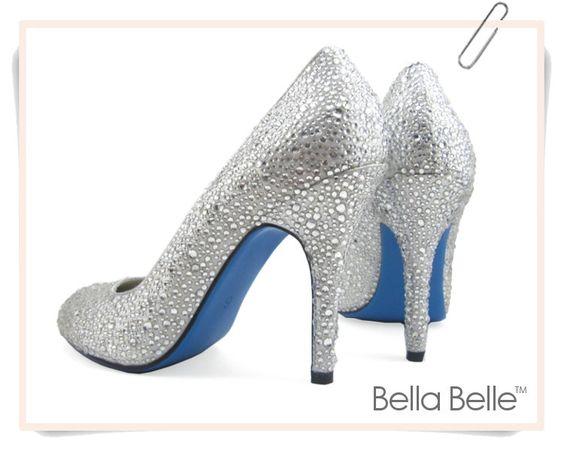 Something Blue Sole Crystal Encrusted Silver White Bridal Wedding Pump Shoe. $139.99, via Etsy.