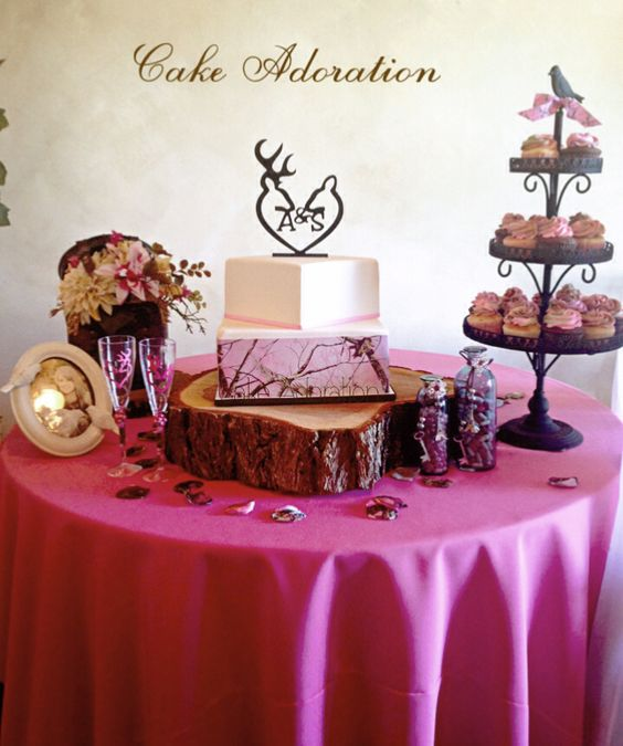 Realtree pink camo wedding cake realtreecamo camowedding for Pink camo decorations