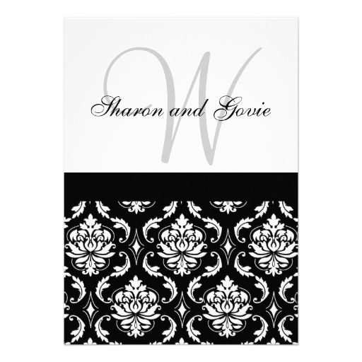 Damask Wedding Invitation Monogram \ Names Back we are given they - best of invitation name designs