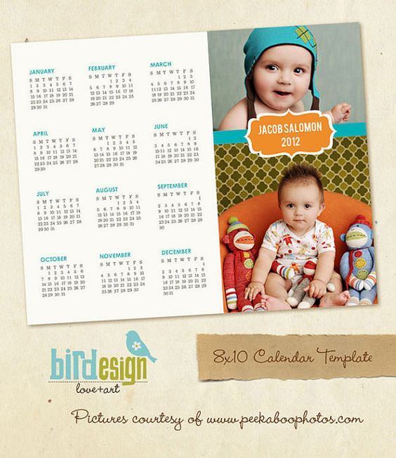 INSTANT DOWNLOAD 8x10 Calendar template 2013 Jacob por birdesign