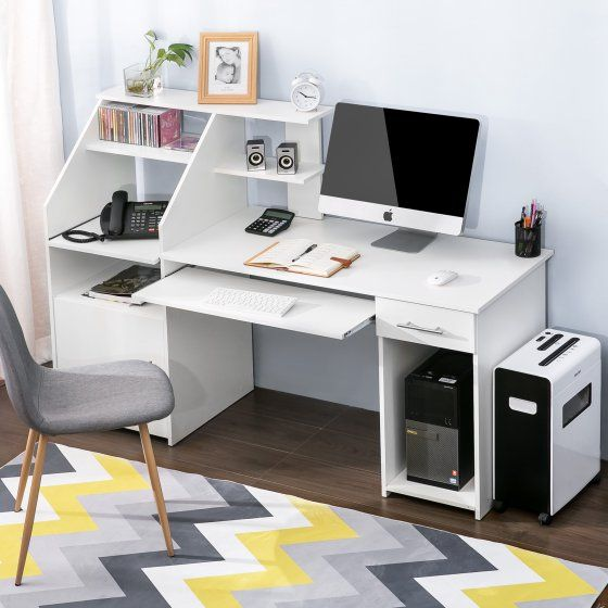 Harper Bright Designs Multi Functions Computer Desk With Cabinet And Shelves Walmart Com Desk Computer Desk Small Computer Desk