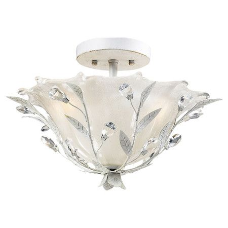 Bring an elegant glimmer to your foyer, living room, or master bath with this lovely semi-flush mount, showcasing cut crystal accents and a silver finish.