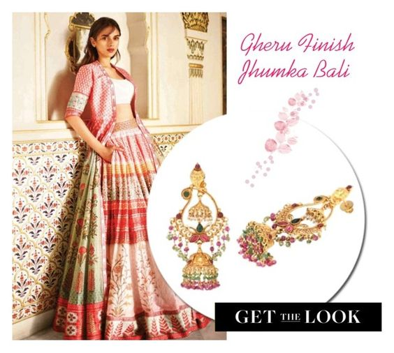 Anita Dongre's 'Love Notes' S/S 16 Collection - Gheru Finish #Jhumka #Bali #Earrings by rajjewels-content on Polyvore