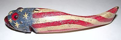 Vintage Duluth Fish Decoys Hand Carved Fish Decoy Painted American Flag