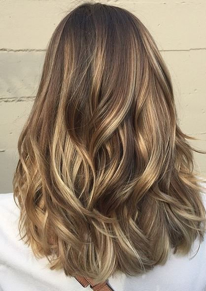 hair color idea , light brunette balayage highlights