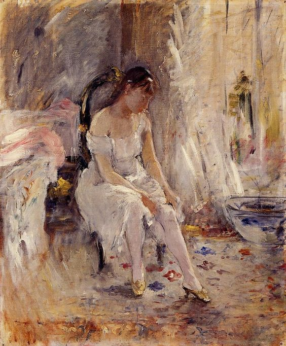 Woman Getting Dressed, aka Young Woman Fastening Her Stockings,  Berthe Morisot.  [French Impressionist Painter (1841-1895)