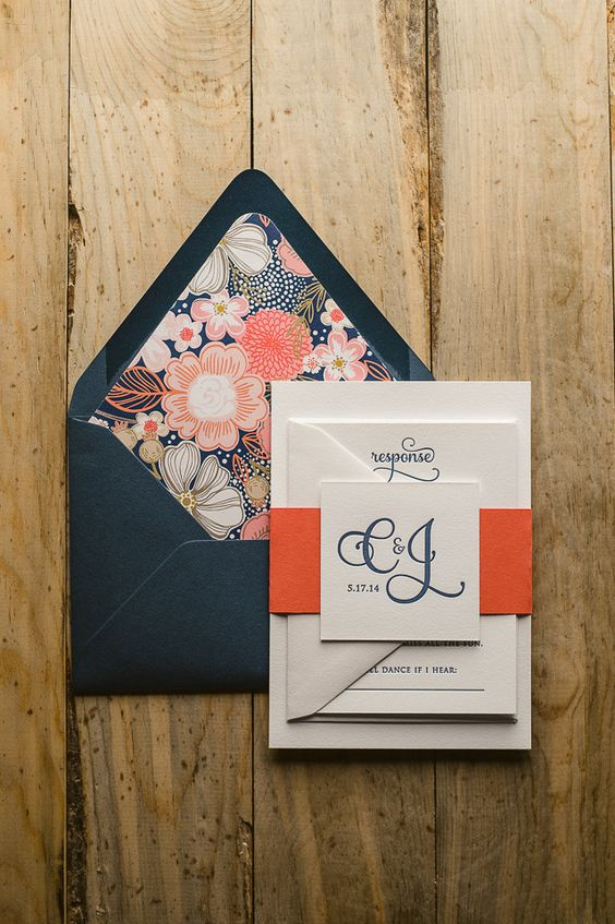 CASEY Suite Cutie Package, Navy and coral wedding invitations, letterpress wedding invitations, floral envelope liners, http://justinviteme.com/collections/styled-collections/products/adele-suite-cutie-package