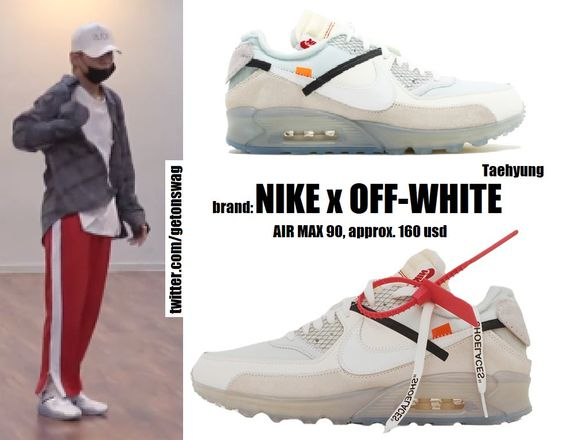 "Beyond The Style ✼ Alex ✼ on Twitter: ""TAEHYUNG #BTS  180606 'Golden Disk Awards 2018' Dance Practice #TAEHYUNG #태형 #V #방탄소년단  NIKE AIR MAX 90 x OFF-WHITE… """