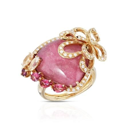 Rosamaria G Frangini | High Pink Jewellery | Falcinelli FALCINELLI 18K Yellow Gold 16.10 CTW Rhodonite and 0.50 CTW Color F-G SI1-SI2 Diamond Women Ring Total Item weight 16.4 g.