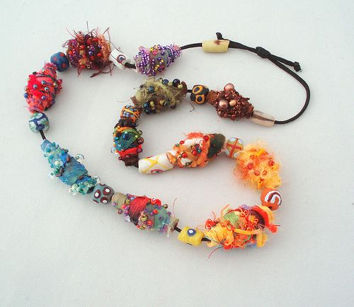 pinner said....fabric & polymer such a gorgeous necklace!