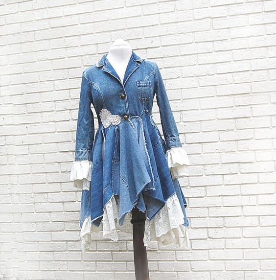 maxi dress and jean jacket upcycled