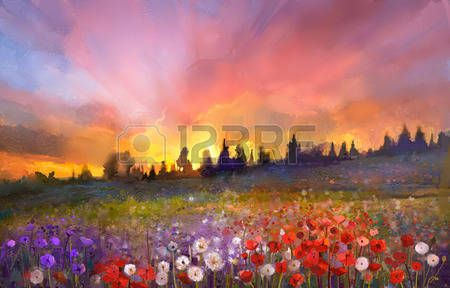pintura: Amapola Pintura al óleo, diente de león, flores de margarita en campos. Sunset paisaje prado con flores silvestres, colina, cielo de color naranja y azul de fondo de color violeta. Mano de pintura verano estilo impresionista floral
