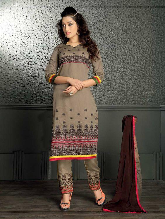 Gray Chanderi Silk Pakistani Style Suit 66429