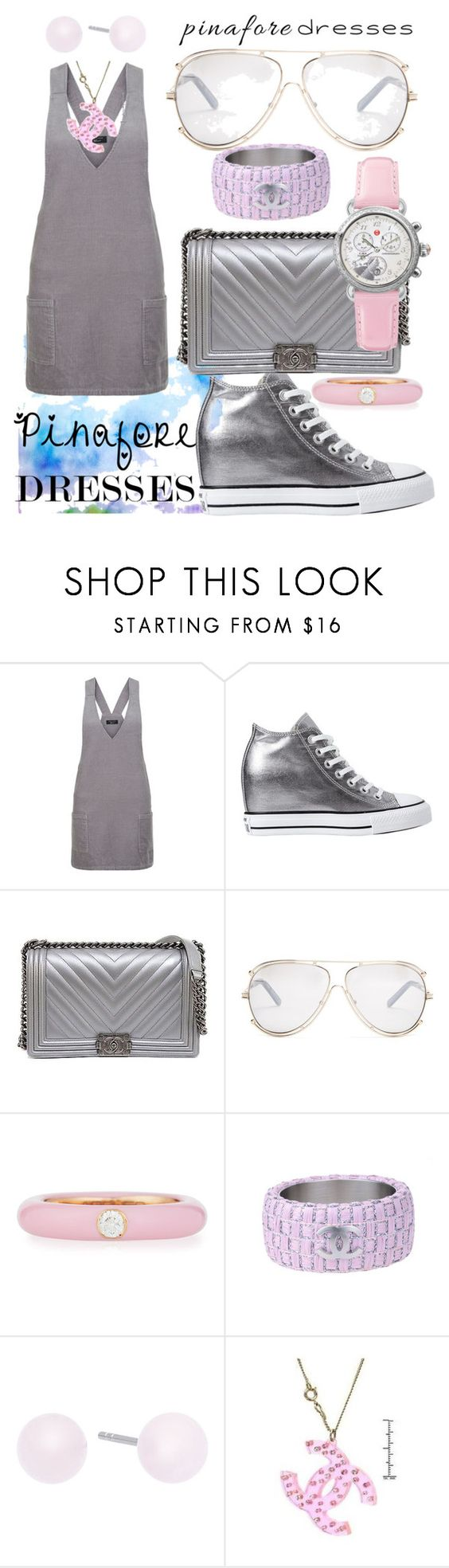 """City Walker Pinafore"" by bvn01 ❤ liked on Polyvore featuring New Look, Converse, Chanel, Chloé, Adolfo Courrier, Michael Kors, Michele, pinafores and 60secondstyle"