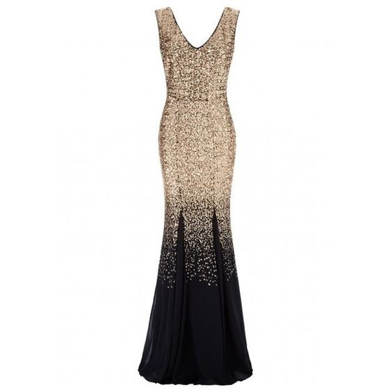 Goddiva Ombre Sequin Chiffon Maxi Dress in Gold ($86) ❤ liked on ...