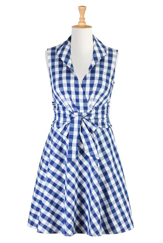 Gingham Check Cotton Dresses Bow Tied Spring Dresses Shop women&39s ...