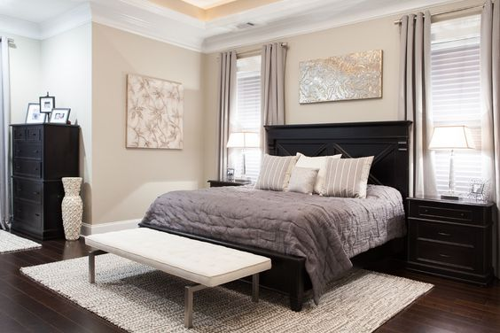 Impressive Black Dressers vogue Charleston Transitional Bedroom Decoration ideas with area rug art above bed artwork beige walls black bed frame black dresser black