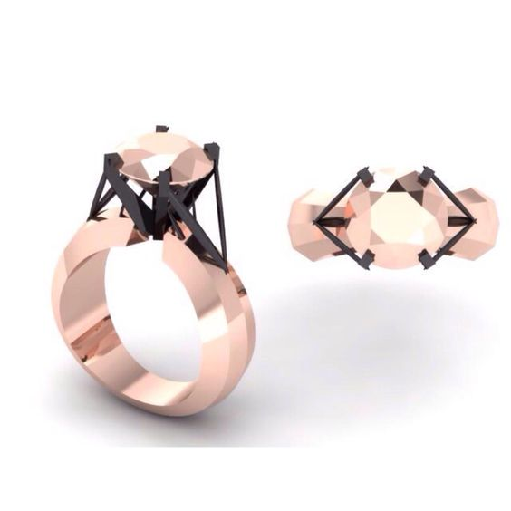 Rose Gold Bling - Ring, rings, architecture, solitaire, fashion, style