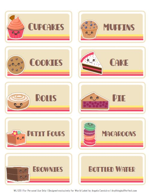 Free bake sale printbles includes flyers food labels pricing etc bake sale ideas for Bake sale labels