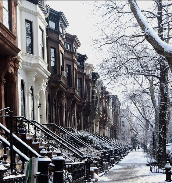 Brooklyn Brownstones in the Snow, New York City   by lucie.robinson