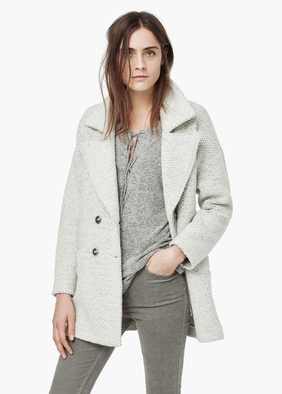 Mango Bouclé Wool Coat in Light Heather Grey