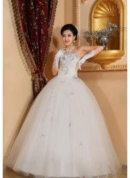 A-lijn jurk vervolgens gemalen strapless mouwloze witte trouwjurken