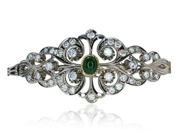 Diamond Emerald Bracelet  Diamant-Smaragd Gliederarmband in Gold mit afrikanischem Smaragd und 3,278ct Diamanten