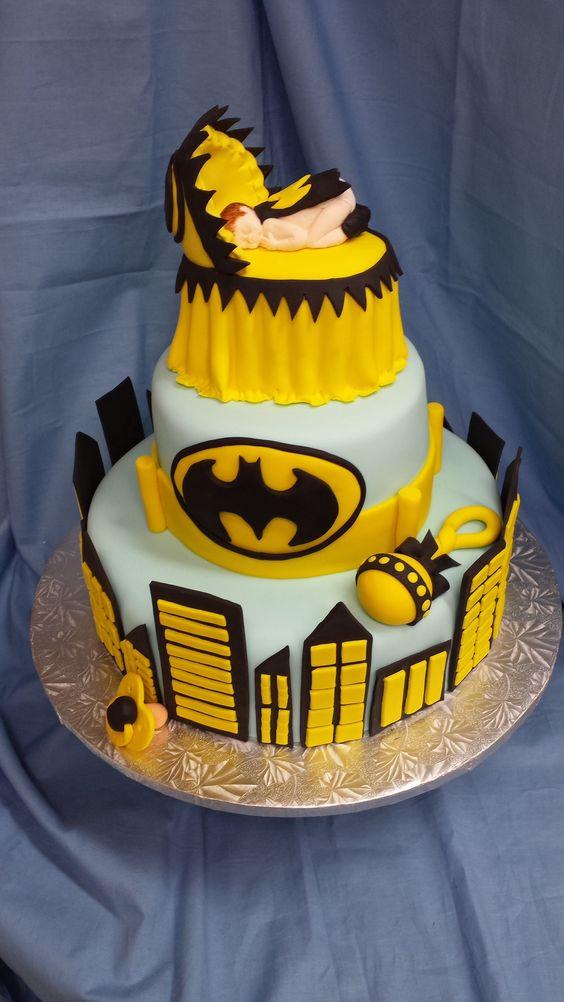 Batman baby shower cake
