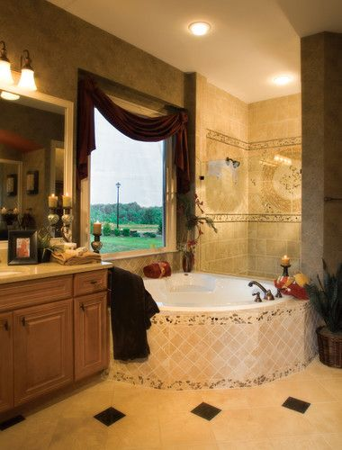 Master bathroom in The Breeland model in Atlanta, Georgia. Love the mosaics and the large picture window over the bath.