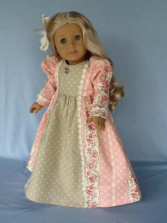 18 inch doll dress and hair clip. Edwardian floor von ASewSewShop