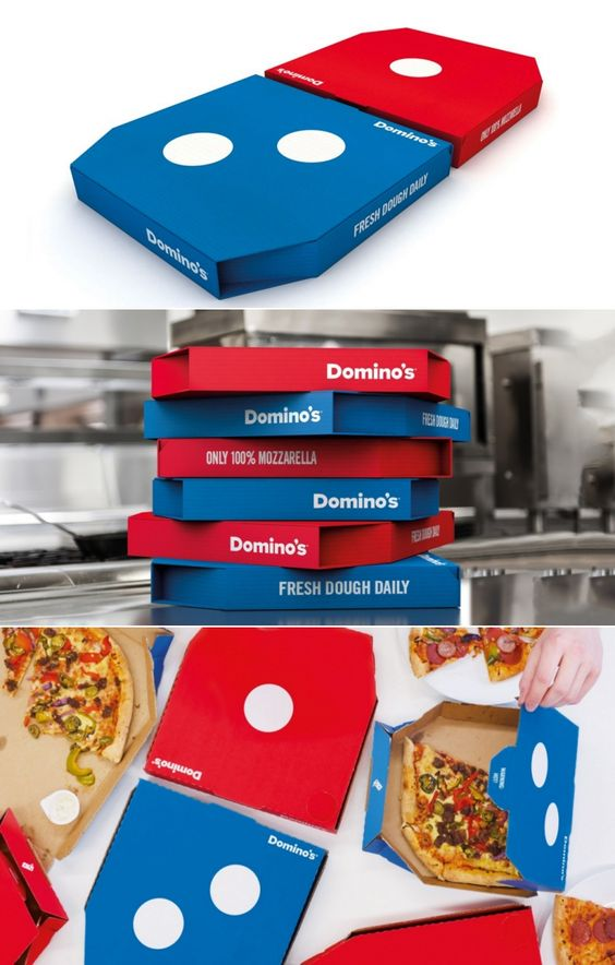 Why can't US dominos use this packaging?! The vibrant color combination is appealing to viewers. It also shows off the brand logo well. A more direct and simple way to promote the brand through packaging. The current dominos packaging in US takes a little time for viewers to catch the brand.