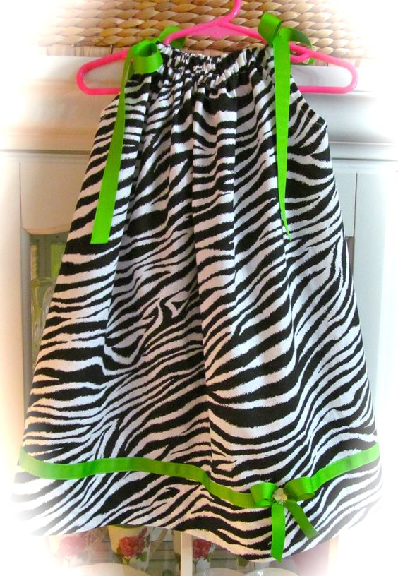 zebra dress trimmed with apple green ribbon...$20.  made by DarLyn Designs