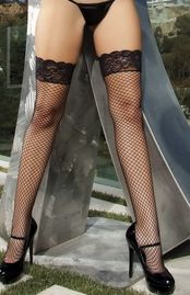 My Goodness Power Fishnet Lace Top High Thigh