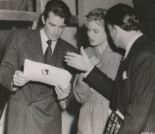 Gregory Peck, Ingrid Bergman & Salvador Dalí on set of Spellbound, 1945, Alfred Hitchcock.
