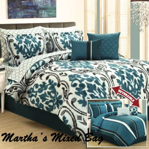 FRENCH-DAMASK-ARABESQUE-STRIPES-Teal-Black-Gray-King-Size-COMFORTER-Bedding-Set