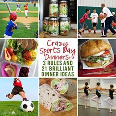 Food and Drink. With all the kids' activities it's hard to plan dinner. Check out our Sports Day Dinners Ideas for those busy nights.   howdoesshe.com