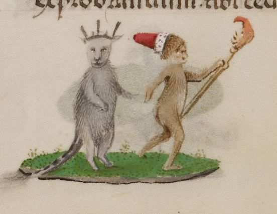 The King and the Fool. Ms. Add. 18852 ('Hours of Joanna I of Castile'), fol. 108v.  1486-1506. British Library.